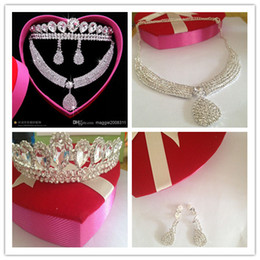 Wholesale Real Images Shining Rhinestone Crystal Necklace Crown Earrings Bridal Jewelry Sets Bridal Wedding Accessory