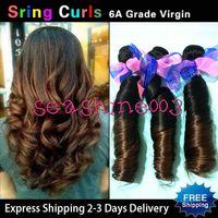 Brazilian Hair Spring Romance curl Brazilian human hair Fashion Aunty Funmi Hair Spring Curl Ombre Color #1B 4 100% Brazilian Human Hair Extension Weft Best Quality Hot Queen Hair 4pcs lot