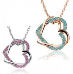 Wholesale Gold plated diamond pendant necklace AAA grade zircon artificial double heart shaped diamond pendant jewelry a587