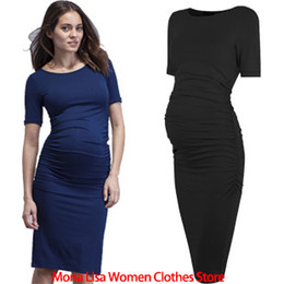 Wholesale Summer Top Maternity Blue Black Tencel Lycra Ruched Midi Solid Dress Pregnant Women Dress