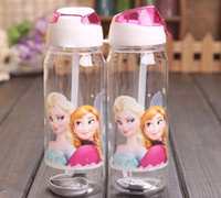 big plastic cups - Big discount Children Cup Cartoon Frozen Elsa Anna PP Texture Suction Cup with drinking straw water bottle