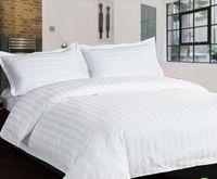 Wholesale White Streak Hotel home textile bedding set queen king size pc pure color cotton comforter duvet cover bed sheet for Guest Room TC