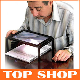 Wholesale Full Page Reading Stand Magnifier LED Lights Creative Gift PVC ABS Anti Fatigue Old People X Zoom Magnifying Glasses