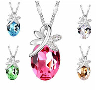 Wholesale The New Austrian crystal silver plated crystal diamond pendant necklace jewelry butterfly fluttering a588