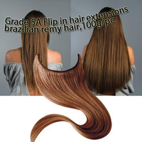 Brazilian Hair Straight Under $100 flip in hair extensions,3pc lot,color 1 1b 2 4 8 10 ..60 613 halo hair extension,Brazilian virgin hair quality 5A,natural straight hair