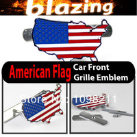 Emblems NO NO 3D Metal American Flag USA Front Grille Grill Emblem Car Auto Turning Racing Running Body Kit Sticker Badge Logo Decal Emblem