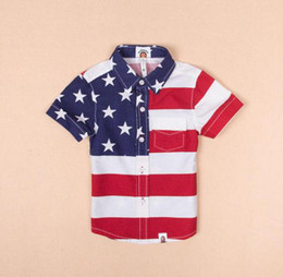 Wholesale 2014 summer USA Flag pure cotton children clothing American star and stripe for baby boy kids clothes polo t shirt outwear