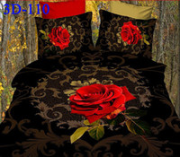 Wholesale 3d oil painting chinese style bedding set fashional and classical cotton bedclothes hot black bedding set with red flower bedroom sets