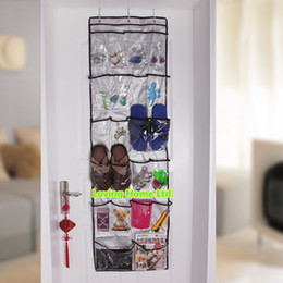Oxford Fabric 22 Pocket 6 Layers With 3 Hooks Clear Over The Door Storage Shoes Clothes Bags Hanger Organizer Rack Hanging
