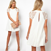 Wholesale Womens summer Chiffon OL Lace chiffon HollowShort Sleeves Mini Dress Back Hollow White Dress