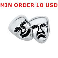 Charms for locket mixed SILVER DRAMA MASKS Glass Floating charms for memory living locket wholesale