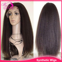 Wholesale 4 Kinky Straight quot Yaki Glueless Indian Remy Human Hair Kinky Straight Full lace Wigs Lace Front Wigs
