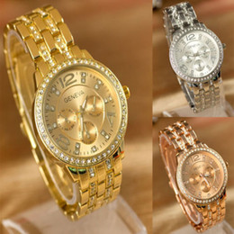 Geneva Womens Luxury Watch New Lady Women Fashion Luxury Gold Crystal Quartz Rhinestone Wrist Watch Silver Rose Gold Stainless Steel Band