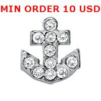 Wholesale CRYSTAL SILVER ANCHOR Glass Floating charms for memory living locket