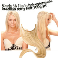 Brazilian Hair Straight Under $100 1pc brazilian virgin remy hair flip in hair extension all colors 100g pc length 12 - 28inch halo hair exteniosns grade 5A free shipping