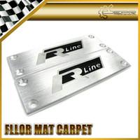 Emblems aluminium floor mats - 2pcs For Audi VW Volkswagen R Line Hairline Aluminium Carved Metal Floor Mat Carpet Emblem x35mm