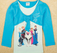 2014 Hot fashion Frozen printed children girls t shirt cotto...