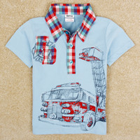 Boy Summer Short-Sleeved 2014 summer korean children clothing boys polo shirts t shirts nova new design cars applique embroidery blue tops in stock C4979Y