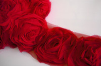 Wholesale Shabby Chic Lace Flowers - 7 Yards 6.5cm 3D Red Red Ivory Chiffon Chic Shabby Frayed Rose Flowers Ribbon Lace Fabric Lime Sewing Mesh Trim For Headband Hair Clip