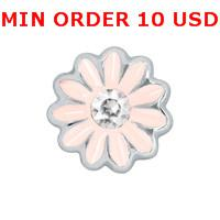 Charms for locket mixed LIGHT PINK DAISY Glass Floating charms for memory living locket wholesale