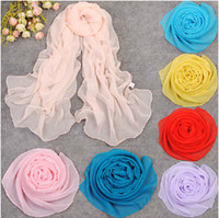2014 spring and summer solid georgette chiffon shawl long pa...