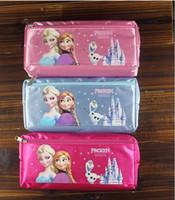 Wholesale Frozen Elsa Anna cartoon wallet change pocket Frozen purse FROZEN ELSA Anna pen bag of pencil case students pen boxes Double receive bag