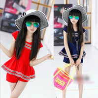 Wholesale HOT Stripe short Sleeve T Shirt solid pant set Children Girls suits red blue Summer Leisure Sets western style kid s Clothing J0401