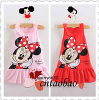 TuTu Summer tutu free shipping New 2014 Kids girls clothes cute Mickey Mouse Minnie Dress, 2 colors of red and pink mini Clothes, KT cat baby girls dress