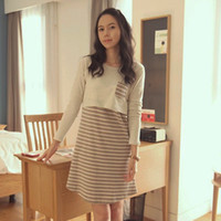 Regular dresses for pregnant women long dress - maternity nursing dress stripe long sleeve spring and autumn feeding clothes for pregnant woman
