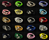 Wholesale Hot NEW Wrap Wristband Cuff Punk Magnetic Rhinestone Buckle Leather Bracelet Bangle cm color