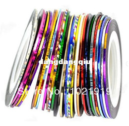 Wholesale-Free Shipping 30pcs Random Mix Color Rolls Striping Tape Metallic Yarn Line NailArt Decoration multicolor striping line DIY