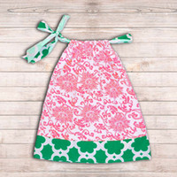 TuTu baby pillow case - 08 Pillowcase Dress Pink Damask With Teal Floral Print Posh Chic Fairy Baby Cotton Pillow Case Dress