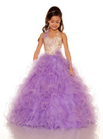 Wholesale Sweet White Blue Purple Tulle Halter Beaded Sugar Girls Pageant Dress Flower Girl Dresses Princess Dressy Skirt Custom Size HF621052
