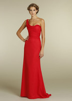 Cheap Candy Apple A Line Red Bridesmaid Gown Cheap One Shoulder Neckline Draped Bodice Dropped Waist Full Length Chiffon 2014 Hot Sale