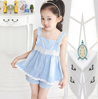 Wholesale Summer High quality Lace jeans Children Girls Sets Supender leisure dress pleated top jeans short pants set kids clothing J0406