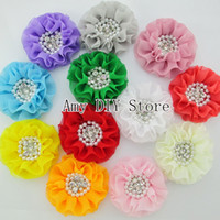 Hair Accessories bulk order - EMS free Bulk order Beaded Chiffon Flower SEW with Pearl Rhinestones Flat Back hot sale for girls this season HH048