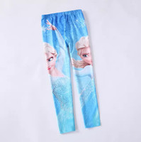 Wholesale Hot Sale Fitness Legging Printed Baby Kid Cartoon Frozen Leggings Digital Printing Blue Leggings Fashion Girls Pant L30781