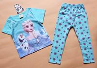 Unisex Spring / Autumn Short Frozen Princess children's clothing sets,cut cartoon girls sets baby kids suit