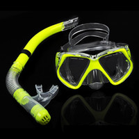 Wholesale Fluorescence Toughened Glass Scuba Diving Mask Snorkel Set Goggles Swimming Goggles Diving Equipment