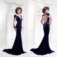 Vestidos Sexy Vintage Royal Blue Open Back Velvet Formal Pro...