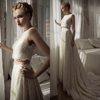 Wholesale Gorgeous Lihi Hod Detachable Sheer Bateau Neck Floor Length Chapel Lace Wedding Dresses Bridal Gowns Custom made