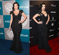 Reference Images V-Neck Lace LM Kim Kardashian Celebrity Dresses With V Neck Cap Sleeve Sheath Sweep Train Black Lace Evening Prom Party Gowns Of Golden Globes Awards