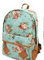Wholesale Canvas Flower Print Backpacks Girls Floral School Bags Casual Zipper Closure Knapsack Bags Women s Double Shoulder Bags