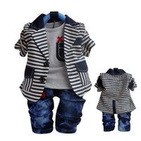 Wholesale Baby School Clothing Sets Baby Boys Casual Clothing Set England Fashion Stripe three piece suit set Kids Apparel