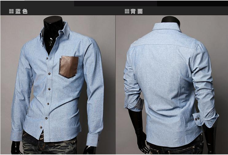 Mens Shirts Fashion Leather Pocket Design Long-sleeved Shirt Men ...