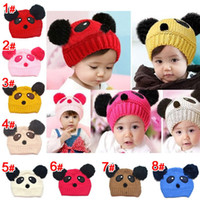 Wholesale Hot sale lovely animal panda baby hats and caps kids boy girl crochet beanie hats winter cap for children to keep warm
