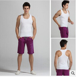 Wholesale FREE DHL Men s under vest men occupy the thin cotton high elastic black and white ash pure color
