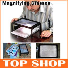 Wholesale Full Page Reading Stand Magnifier Anti Fatigue Old People LED Lights Creative Gift PVC ABS X Zoom g Magnifying Glasses JK0001