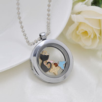 Wholesale 30mm Rhodium Round magnetic glass L Stainless Steel glass locket memory Locket DIY floating charm locket necklace