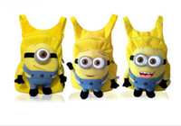 Wholesale New Arrival Cute D Eyes Despicable Me Minion Plush Backpack Schoolbag Child PRE School Kid Cartoon Backpack Children s bags